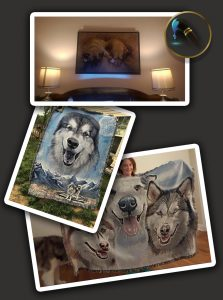 A grouping of throw blankets and one oversized canvas with Cameo Anderson Pet Portraits on them.