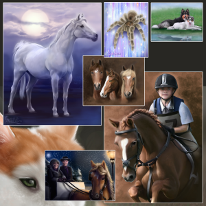 Paintings of a horse, rider, tarantula, and buggy.