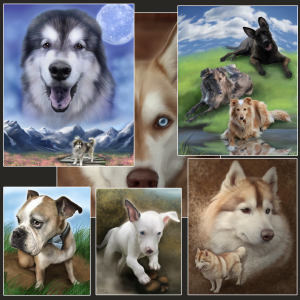 Pets painted in outdoor scenery or on more impressionistic backgrounds.