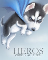 Hero the husky poster - husky in a blue cape